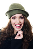The young beautiful woman in an autumn beret on a head Stock Photos