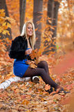 Young beautiful woman in autumn forest Royalty Free Stock Photography