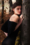 A young beautiful woman in the autumn forest Royalty Free Stock Photos
