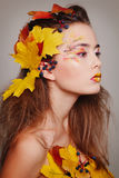 Young beautiful woman with autumn make up and leaves on head. Be. Young beautiful woman with autumn make up and leaves on head stock images