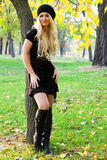 Young beautiful woman in an autumn park Stock Images