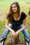 Young beautiful woman in an autumn park Stock Photography