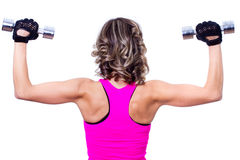 Young beautiful woman back doing fitness exercise Stock Photos