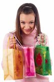 Young beautiful woman with bag Stock Images