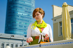 Young beautiful woman with bags after shopping Stock Photos