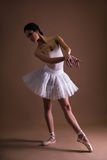 Young beautiful woman ballerina in tutu posing over beige Stock Photos