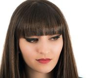 Young beautiful woman with bangs in studio Royalty Free Stock Image