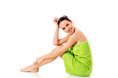 Young beautiful woman after bath full portrait isolated over white. Stock Photos