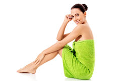 Young beautiful woman after bath full portrait isolated over white. royalty free stock image