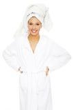 Young beautiful woman in bathrobe Stock Photos