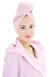 Young beautiful woman in bathrobe after bath Stock Image