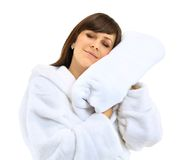 Young beautiful woman in bathrobe with towel Royalty Free Stock Photos