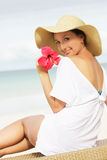 Young beautiful woman on beach Stock Images