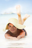 Young beautiful woman on beach royalty free stock images