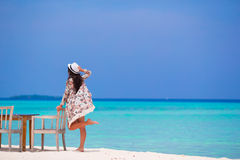Young beautiful woman on beach during her summer Royalty Free Stock Images