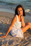 Young beautiful woman on the beach Royalty Free Stock Images