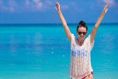 Young beautiful woman on beach during tropical Royalty Free Stock Photo