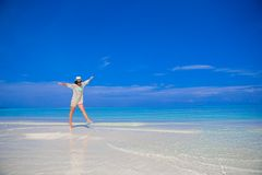 Young beautiful woman on beach during tropical Royalty Free Stock Photography