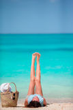 Young beautiful woman on beach vacation Royalty Free Stock Photos