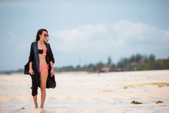Young beautiful woman on beach vacation Stock Image