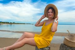 Young beautiful woman in beach stock photo