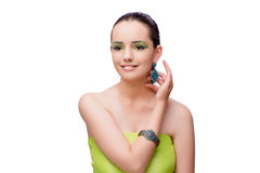 The young beautiful woman in beauty fashion concept Stock Image