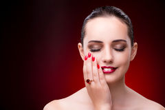 The young beautiful woman in beauty fashion concept Stock Photography