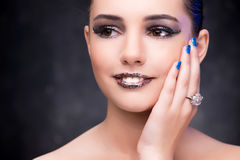 The young beautiful woman in beauty fashion concept Stock Images