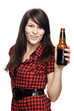 Young beautiful woman with beer bottle. In hand Royalty Free Stock Photos