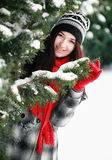 Young beautiful woman behind snow covered pine Stock Photos