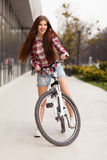 Young beautiful woman on a bicycle Royalty Free Stock Image
