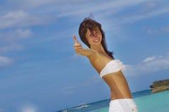 Young beautiful woman in bikini on sea background Royalty Free Stock Photography