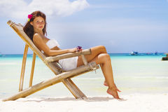 Young beautiful woman in bikini on sea background Stock Photography