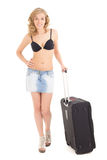 Young beautiful woman in bikini with suitcase on white backgroun Royalty Free Stock Photo
