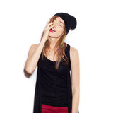Young beautiful woman in black beanie Royalty Free Stock Photo