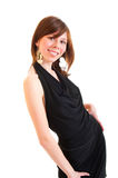 Young beautiful woman in black dress Royalty Free Stock Image