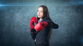 Young beautiful woman in black suit and white shirt standing in combat pose with red boxing gloves. Business concept. Stock Images