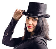 Young beautiful woman in black tophat Royalty Free Stock Image