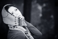 The young beautiful woman. Black-and-white. Stock Photography