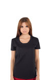 Young beautiful woman with blank black shirt Stock Image