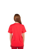 Young beautiful woman with blank red shirt,back pose Stock Photo