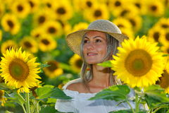 Young beautiful woman on blooming sunflower field Royalty Free Stock Photography