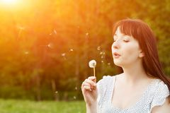 Young beautiful woman blowing a dandelion in spring Royalty Free Stock Image