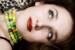 Young beautiful woman with blue eyes and red lips Royalty Free Stock Images