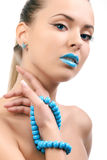 Young beautiful woman with blue lips Royalty Free Stock Photos