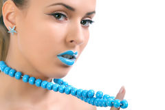 Young beautiful woman with blue lips Stock Image