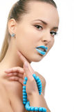 Young beautiful woman with blue lips Stock Photography