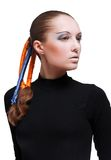 young beautiful woman with blue and orange ribbons Royalty Free Stock Image