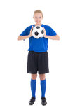 Young beautiful woman in blue with soccer ball Royalty Free Stock Photography
