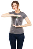 Young beautiful woman with a bottle of water Royalty Free Stock Photography